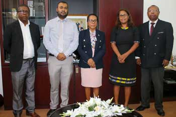 EISA Madagascar Country Representative, Jessica Ranohefy, being received by the Speaker of the National Assembly, Razanamahasoa Christine and her team in Nov 2020